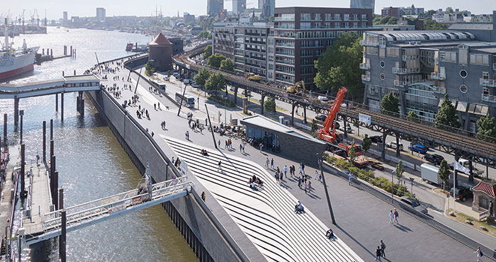 Zaha Hadid Architects completes  sculptural Niederhafen River Promenade in Hamburg, Germany