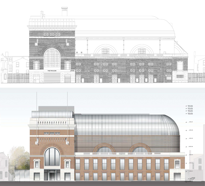 Elevation of Shepherds Bush Pavilion