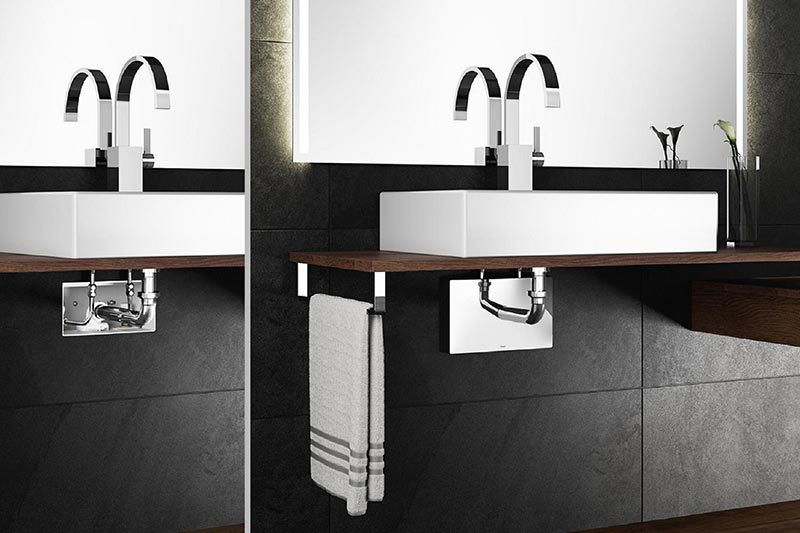 Viega's concealed connection box to enhance the aesthetic and functional value of washstands